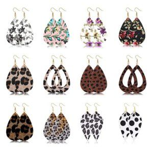 12 Pairs Teardrop Leather Dangle Earrings